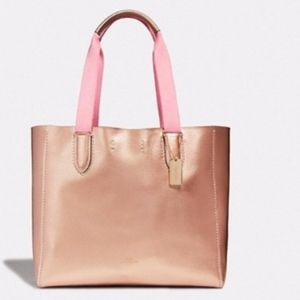 Coach Derby Leather Tote Rose Gold NWT